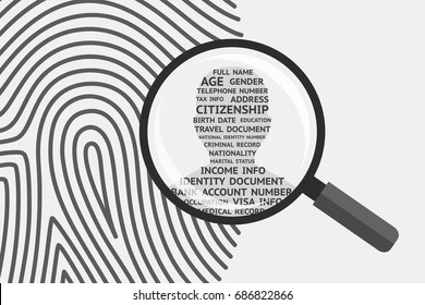 Fingerprint and magnifying glass above, man's silhouette with personal information inside. Fingerprint as source of information about person