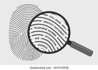 Fingerprint and magnifying glass with personal information. Concept of identification of person, getting personal data and information using fingerprint, biometrics control system