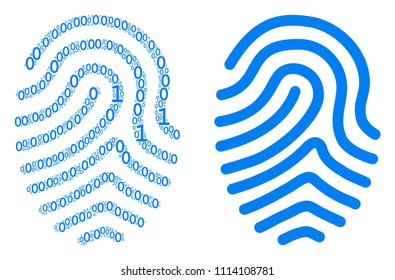 Fingerprint mosaic icon of zero and one symbols in various sizes. Vector digits are randomized into fingerprint collage design concept.