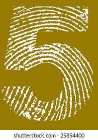 Fingerprint Number - 5 (Highly detailed grunge Number)