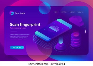 Fingerprint on smartphone screen business security concept. Application scanning fingerprint. 3d isometric vector illustration on ultraviolet background