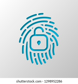 Fingerprint with open lock, personal protect, secutiry icon. Paper design. Cutted symbol with shadow