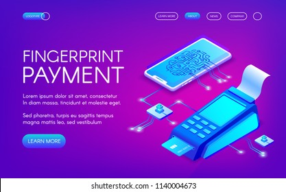 Fingerprint payment vector illustration of secure payment technology with personal authentication. Smartphone and credit card POS terminal for purchase transaction on purple ultraviolet background