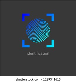Fingerprint, personal identification, identity, id logo. Vector illustration