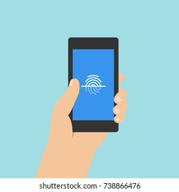 Fingerprint recognition on smartphone screen with hand holding the phone. Flat vector mobile phone illustration.