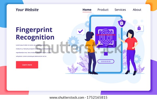 Fingerprint recognition technology concept. Women trying to access her mobile phone with biometric access control. modern flat landing page design for website and mobile website. Vector illustration
