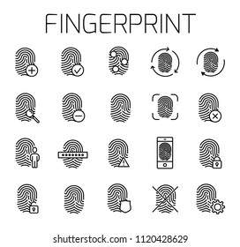 Fingerprint related vector icon set. Well-crafted sign in thin line style with editable stroke. Vector symbols isolated on a white background. Simple pictograms.