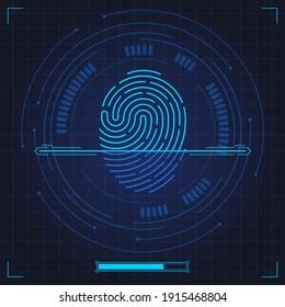 Fingerprint scan. Biometric fingerprints identification, security system thumb lines authentication. Digital fingerprint scan vector illustration set. Fingerprint and thumbprint, digital security scan