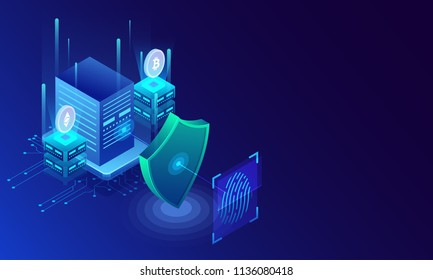Fingerprint scan, biometric identity and approval. Future of security and password control through fingerprints in an immersive technology future and cybernetic, business isometric style.
