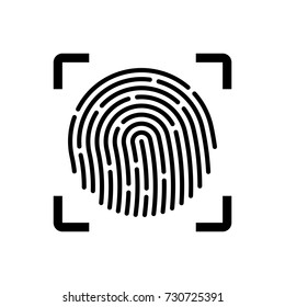 Fingerprint scan icon, black isolated on white background