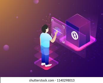 Fingerprint scan for identity approval, biometric technology concept based isometric design, a man unlock bank locker through fingerprint scanner.