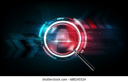 Fingerprint scan and magnifying glass with abstract Futuristic Technology Background, Security system concept, vector illustration