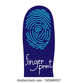 Fingerprint scan on finger silhouette set with At sign symbol concept idea illustration isolated on white background, and Fingerprint text with copy space