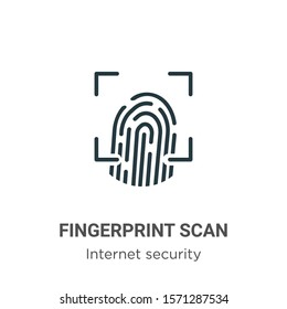 Fingerprint scan outline vector icon. Thin line black fingerprint scan icon, flat vector simple element illustration from editable internet security concept isolated on white background