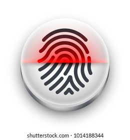 Fingerprint scanner icon. White round button with a black fingerprint shape and red scan beam. Concept of biometric identification and protection