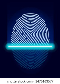 Fingerprint scanner ID symbol. Scanning identification system. Laser scan fingerprint ID icon app. Fingerprint security check. Vector illustration digital biometric authorization and security concept