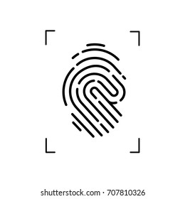 Fingerprint Scanner simple Vector icon in flat style on white background.For digital scan.