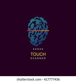 fingerprint scanner vector logo icon web personalization id lock