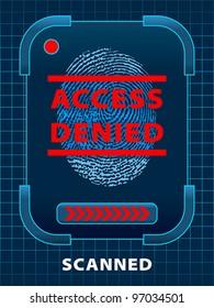 Finger-print scanning. Access Denied. EPS 10, RGB