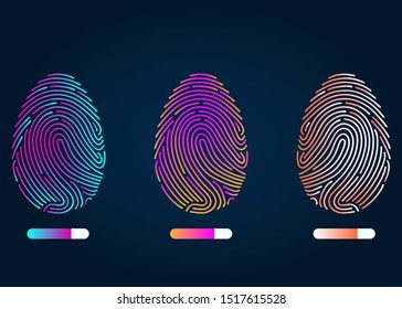 Finger-print Scanning Identification System. Biometric Authorization and Business Security Concept. Fingerprint of different colors on a black background