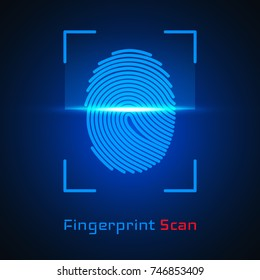 Finger-print Scanning Identification System. Biometric Authorization and Business Security Concept. Vector illustration.