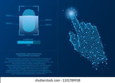 Fingerprint scanning system. Biometric Identification technology concept. Analysis of digital finger-print password. Vector illustration.