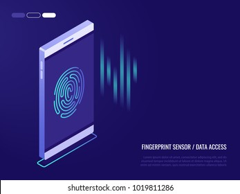 ?oncept of fingerprint sensor on phone.Access to data. Fingerprint on the smartphone screen. Vector illustration in 3d isometric style