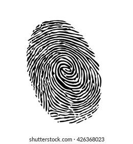 fingerprint silhouette on white background