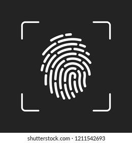 Fingerprint. Simple icon for logo or app. White object in camera autofocus on dark background