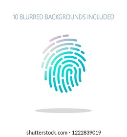 Fingerprint. Simple icon for logo or app. Colorful logo concept with simple shadow on white. 10 different blurred backgrounds included