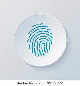 Fingerprint. Simple icon for logo or app. Cut circle with gray and blue layers. Paper style