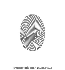 Fingerprint or thumbprint circle icon. Security identification. Vector illustration print finger and thumb