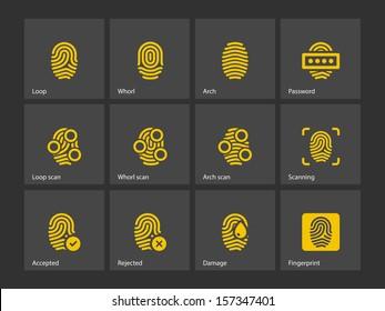 Fingerprint and thumbprint icons. Vector illustration.