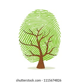 Fingerprint tree made of green human finger print. Identity concept, environment help or earth care. EPS10 vector.