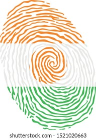 Fingerprint vector colored with the national flag of Niger