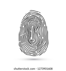Fingerprint vector icons isolated on write with shadow. Biometric technology for person identity. Security access authorization system. Electronic signature. Black finger print. Easy to edit template.