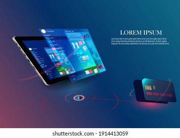 fingerprint wi-fi smartphones, security controls Vector futuristic Smart home technology controlling protection system