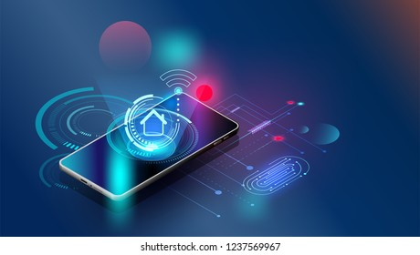 fingerprint wi-fi smartphones,Vector futuristic Smart home security controls technology controlling protection system With space content,web- template, business tech presentation  appliances