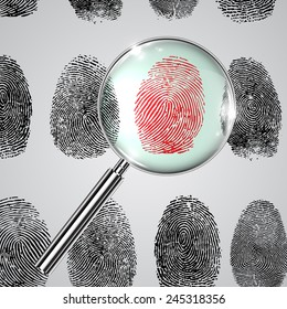 Fingerprints and a magnifier, vector