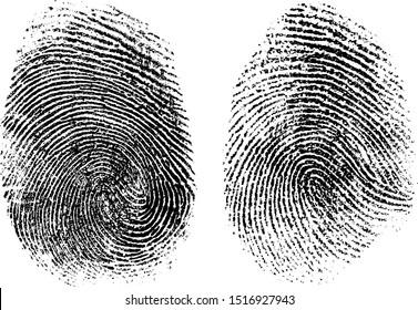 Fingerprints set vector artificially modified to avoid potentially sensitive information