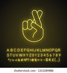 Fingers crossed emoji neon light icon. Luck, lie, superstition hand gesture. Hand with middle and index fingers crossed. Glowing sign with alphabet, numbers and symbols. Vector isolated illustration