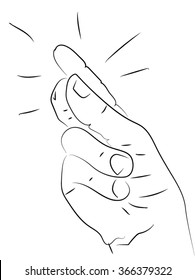 Fingers or hand snap. hand, palm, fingers. Human hand holding a coin with your fingers. Vector black - white illustration on the theme of money, luck, gold.