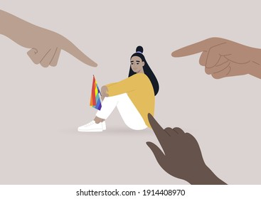 Fingers pointing at an lgbtq person, homophobia problem, cruel intolerant society