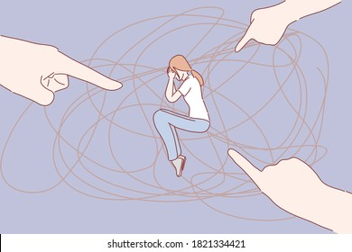Fingers pointing at woman. Bullying, hate, sad, mental disorder, confusion, depression, dispraise, blame concept. Hand drawn flat character style.