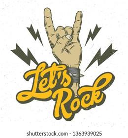 Fingers rock gesture. Vintage label, illustration, logotype. Vector illustration. T-shirt or poster design.