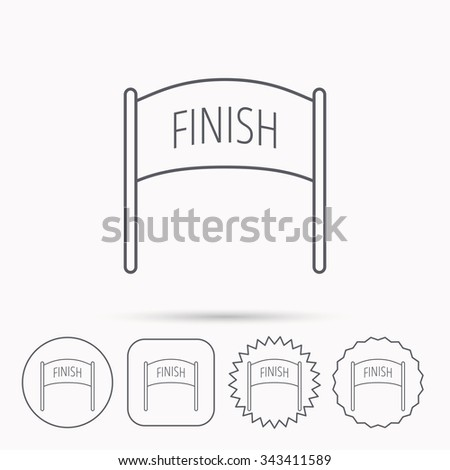 Finish Banner Icon Marathon Checkpoint Sign Stock Vector