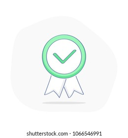 Finish, completed, fixed, certified, success, check mark, achievement. Green approved sticker isolated on white background. Done stamp vector. Flat outline vector illustration, badge. Check icon