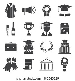 Finish education or graduation day vector icons set.. Man and woman graduates in hats and bachelor gowns isolated. Outline graduation celebration ceremony elements. Graduational party pictogram set.