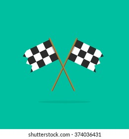 Finish flag vector icon, two racing finishing flags pictogram in linear outline emblem, symbol of sport competition completion, winning flat simple black and white style design isolated