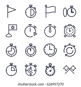 Finish icons set. set of 16 finish outline icons such as stopwatch, flag